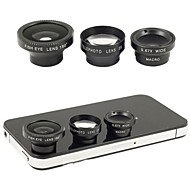 Magnetic 4 in 1 Wide Angle with Macro Lens,180 Fish Eye Lens and 2X Telephoto Lens for iPhone 5 /4 /iPad(Assorted Color)