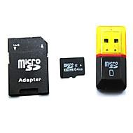 Classe 64gb 10 microSDHC cartão de memória TF com adaptador SD e SDHC e leitor de cartão usb