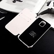 4200mah backup batteri læder flip cover til Samsung Galaxy S5 / kortpladser&stå (hvid)