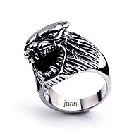 gepersonaliseerde gift modieuze wolf vormige roestvrij stalen sieraden gegraveerd heren ring