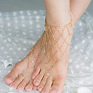 shixin®ヴィンテージ結晶不規則なネットシェイプ裸足サンダル(黄金、銀、青銅)(1個)