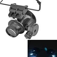 óculos tipo 20x lupa com luz LED branca (2 x CR1620)