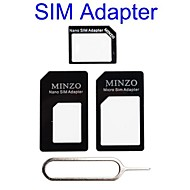 4 in 1 Nano Sim to Micro Sim/Standard Sim Card Adapter for iPhone 4S/5S(Assorted Colors)