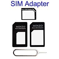 4 iphone 4s için mikro sim / standart sim kart adaptörü 1 nano sim / 5s (çeşitli renk)