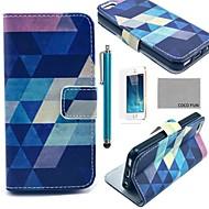 のために iPhone 5ケース カードホルダー / ウォレット / スタンド付き / フリップ / パターン ケース フルボディー ケース 幾何学模様 ハード PUレザー iPhone SE/5s/5