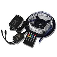 5m 300x5050 SMD musik lys strimler RGB fleksibel LED lys strimler + 20key musik fjernbetjening + 2a effekt (ac110-240v)