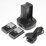 Dual Charger Ladestation Dock und 2 Batterien für Xbox 360 (UK-Stecker)