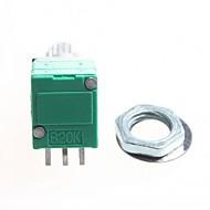 20k 6-pin kaksinkertainen potentiometri / tilavuus potentiometri - hopea + vihreä