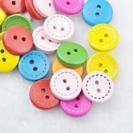 fargerik utklippsbok scraft sy DIY tre knapper (10 stk tilfeldig farge)