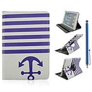 Stripe and Anchor Design PU Leather Full Body Case with Stand and Capacitance Pen for iPad Air