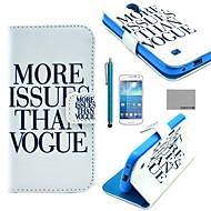のために カードホルダー / スタンド付き / フリップ / パターン ケース フルボディー ケース ワード/文章 ハード PUレザー Samsung S4 Mini
