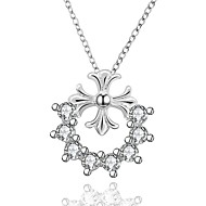 Cremation jewelry 925 Sterling Silver Cross Flower with Zircon Pendant Necklace for Women