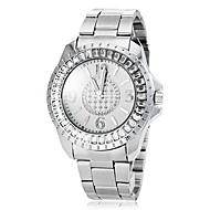 Women's Diamante Case Silver Steel Band Quartz Fashion Watch (Assorted Colors)