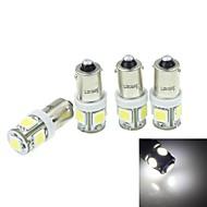 4pcs BA9s (T4W w6w) 2.5W 5x5054smd 160-180lm 6000-6500k hvitt lys for bil lndicator (dc12-16v)