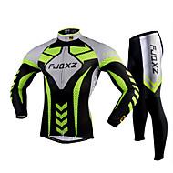 FJQXZ 자전거/싸이클링 사이클링 스타킹 / 져지+팬츠 / 의류 세트/수트 남성의 긴 소매 통기성 / 자외선 방지 / 빠른 드라이 / 3D 패드 폴리에스터 / 망사 Randig 그린 / 그레이 / 블랙S / M / L / XL / XXL /