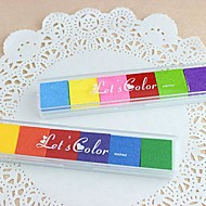 6 Colors Rainbow Inkpad Stamps for Fingerprint Scrapbook Painting Wedding Kids Birthday Party Favors