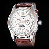 Hombre Reloj Cuerda Automática Reloj de Vestir Calendario Piel Banda Reloj de Pulsera
