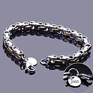 jóias em aço inoxidável pulseira cadeia personalizado presente gravado