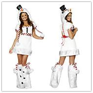 fourrure blanche Santa Miss robe adulte de costume de femme de Noël