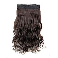 5 클립 머리 확장에 24 인치 120g 길고 어두운 갈색 내열성 합성 섬유 곱슬 클립