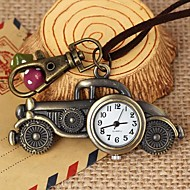 Unisex Vintage Classic Cars-Shaped Round Dial Leather&Alloy Quartz Necklace /Keychain Watch Green Patina (1Pc) Cool Watches Unique Watches
