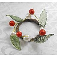 frutas natal anel de pérola guardanapo vermelho natal, acrílico, 1.77polegadas, conjunto de 12