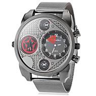 JUBAOLI 男性 軍用腕時計 2タイムゾーン クォーツ 合金 バンド ブラック