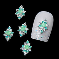 10pcs   Green Rhinestone Alloy For DIY Finger Tips Design Nail Art Decoration