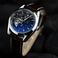 Men's  Double hollow Boutique  Circular leather  mechanical watch  Automatic mechanical watches    (Assorted Colors)