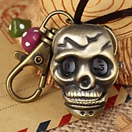 Unisex Punk Style Skull-Shaped Round Dial Leather&Alloy Quartz Necklace /Keychain Watch Green Patina (1Pc)