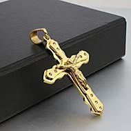 Męskie Naszyjniki z wisiorkami Cross Shape Kryształ górski Stal tytanowa Pozłacane Golden Biżuteria NaŚlub Impreza Codzienny Casual