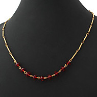 U7® New Women's Necklace 18K Real Gold Plated Ruby Rhinestone Crystal Ball Choker Chain for Women 53CM