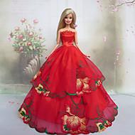 Poupée Barbie rose rouge Design Princesse Robe de mariée