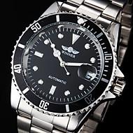 Men's Auto-Mechanical Calendar Silver Steel Band Wrist Watch