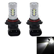 hj 9006 80w 3000lm 6000-6500k 16 * cree lâmpada LED para foglight carro luz branca (12-24V, 2pcs)