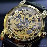 auto-montre mécanique l'or des hommes& argent squelette montre la gravure creuse rétro sport robe de poignet (couleurs assorties)