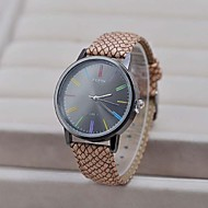 Men's  Large Dial  Retro Snakeskin Pattern  Circular Leather  High quality  quartz watch(Assorted Colors)