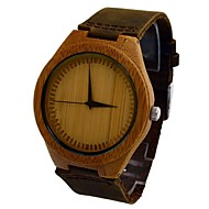 Men's Watch Natural Bamboo Wood Wrist Watch Retro Cow Leather Band Japan Miyota Movement