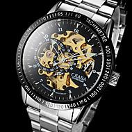 Hommes Bracelet Montre Remontage automatique Gravure ajourée Acier Inoxydable Bande Argent Marque-