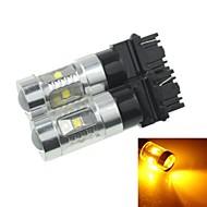 2x 3157 p27 w2.5x16q 30w 2100lm 6xcree jaune rouge pour la lumière de signal voiture de tour (ac / DC12V-24)