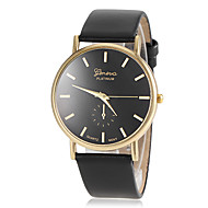 Women's Gold Round Dial PU Band Quartz Wristwatch (Assorted Colors)