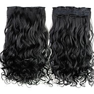 24 Inch 120g Long Black Synthetic Curly Clip In Hair Extensions with 5 Clips