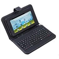 """7 """"caja del teclado del usb de la tableta de cuero protectora"""