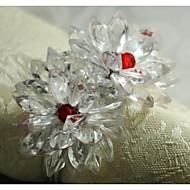 flor de cristal anel de guardanapo, acrílico, 1.77inch, conjunto de 12