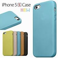 Côr Sólida/Design Especial/Novidade - iPhone 5/iPhone 5S - Cobertura de Trás (Vermelho/Preto/Verde/Azul/Castanho/Bege , Pele PU/Pele Genuina)