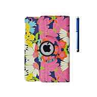 Flower Pattern PU Leather Case with Stand and Pen for iPad 2/3/4