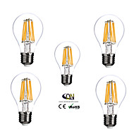 5 pcs ONDENN E26/E27 8 W 8 COB 800 LM Warm White A Dimmable LED Filament Lamps AC 220-240/AC 110-130 V