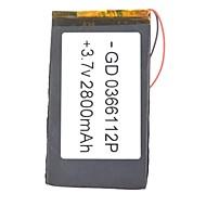 0366112P 3.7V 2800mAh  Li-polymer Battery
