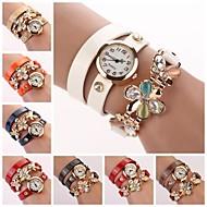 Women's White Dial Flower Crytal Three-Layer Leather Band Random Pendant Quartz Fashion Bracelet Watch  (Assorted Color)