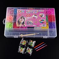 BaoGuang®Loom Bands Random Color Bands Set(4200pcs Rubber Bands,4 Package S Clips ,1Looms ,3 Hook+1Box)